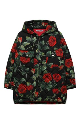 Детская стеганая куртка DOLCE & GABBANA черного цвета, арт. L5JBJV/FSSG0/8-14   Фото 1 (Материал подклада: Синтетический материал; Материал внешний: Синтетический материал; Рукава: Длинные)