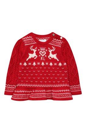 Детский пуловер из хлопка и шерсти POLO RALPH LAUREN красного цвета, арт. 310853160 | Фото 1 (Материал внешний: Хлопок; Рукава: Длинные)