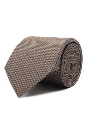 Мужской шелковый галстук BOSS коричневого цвета, арт. 50466759 | Фото 1 (Материал: Текстиль, Шелк; Принт: С принтом)