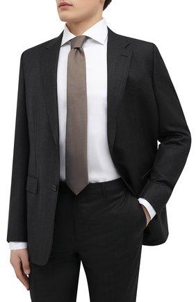 Мужской шелковый галстук BOSS коричневого цвета, арт. 50466759 | Фото 2 (Материал: Текстиль, Шелк; Принт: С принтом)