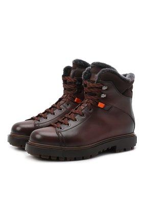 Мужские кожаные ботинки SANTONI коричневого цвета, арт. MGSG17859DDAAHC0M51 | Фото 1 (Подошва: Массивная; Материал утеплителя: Натуральный мех; Мужское Кросс-КТ: зимние ботинки, Ботинки-обувь)
