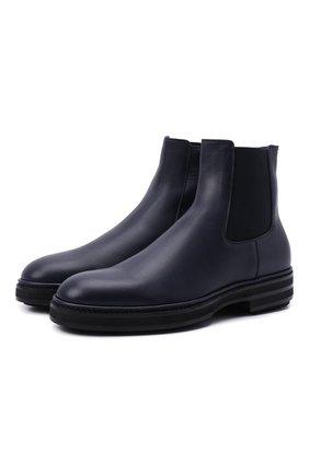 Мужские кожаные челси ZILLI темно-синего цвета, арт. MDW-A100/002 | Фото 1 (Подошва: Массивная; Материал внутренний: Текстиль; Мужское Кросс-КТ: Челси-обувь, Сапоги-обувь)