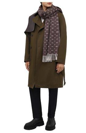 Мужской шарф из шерсти и кашемира KITON коричневого цвета, арт. USCIACX0276A | Фото 2 (Материал: Кашемир, Шерсть; Кросс-КТ: шерсть, кашемир)
