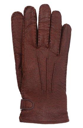 Мужские кожаные перчатки BRIONI коричневого цвета, арт. 05SI0L/08756/PTAJ | Фото 1 (Материал: Экзотическая кожа; Мужское Кросс-КТ: Кожа и замша)