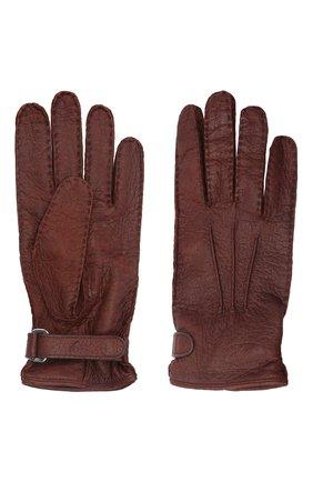 Мужские кожаные перчатки BRIONI коричневого цвета, арт. 05SI0L/08756/PTAJ | Фото 2 (Материал: Экзотическая кожа; Мужское Кросс-КТ: Кожа и замша)