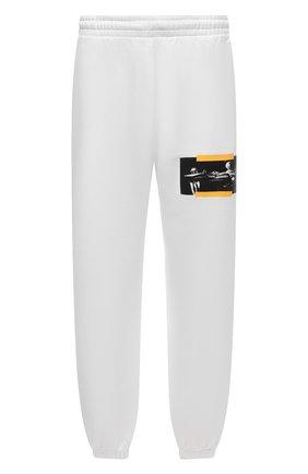 Мужские хлопковые джоггеры OFF-WHITE белого цвета, арт. 0MCH029F21FLE005   Фото 1 (Материал внешний: Хлопок; Мужское Кросс-КТ: Брюки-трикотаж; Силуэт М (брюки): Джоггеры; Стили: Спорт-шик; Длина (брюки, джинсы): Стандартные)