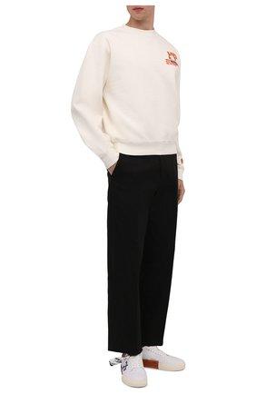 Мужские текстильные кеды vulcanized OFF-WHITE белого цвета, арт. 0MIA085F21FAB0010146   Фото 2 (Материал внутренний: Текстиль; Подошва: Плоская; Материал внешний: Текстиль)