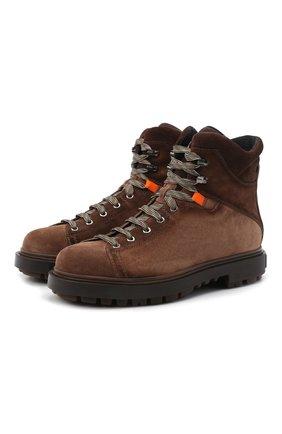 Мужские замшевые ботинки SANTONI коричневого цвета, арт. MGSG17859DDAKWRNS50 | Фото 1 (Подошва: Массивная; Материал внутренний: Натуральная кожа, Текстиль; Материал внешний: Замша; Мужское Кросс-КТ: Ботинки-обувь, зимние ботинки)