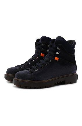Мужские замшевые ботинки SANTONI темно-синего цвета, арт. MGSG17859DDAKWRNU60 | Фото 1 (Материал внутренний: Текстиль, Натуральная кожа; Подошва: Массивная; Материал внешний: Замша; Мужское Кросс-КТ: Ботинки-обувь, зимние ботинки)