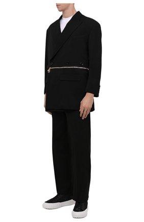 Мужские текстильные кеды FENDI черного цвета, арт. 7E1424 AD76 | Фото 2 (Материал внутренний: Текстиль; Подошва: Массивная; Материал внешний: Текстиль)