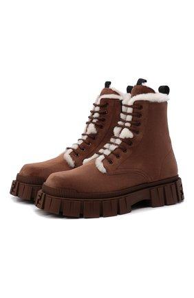 Мужские замшевые ботинки FENDI коричневого цвета, арт. 7U1448 AGD6 | Фото 1 (Материал утеплителя: Натуральный мех; Каблук высота: Высокий; Подошва: Массивная; Материал внешний: Замша; Мужское Кросс-КТ: Ботинки-обувь, зимние ботинки)