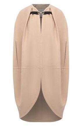 Женская кашемировый кейп JIL SANDER светло-бежевого цвета, арт. JSWT435285-WT100503   Фото 1 (Длина (верхняя одежда): Длинные; Материал внешний: Кашемир, Шерсть; Стили: Кэжуэл)