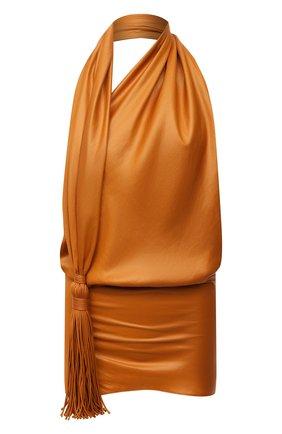 Женский топ BOTTEGA VENETA оранжевого цвета, арт. 682129/V1900   Фото 1 (Материал внешний: Синтетический материал; Длина (для топов): Стандартные; Материал подклада: Синтетический материал; Стили: Романтичный)