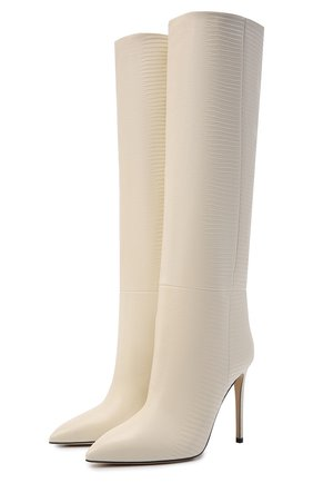Женские кожаные сапоги stiletto PARIS TEXAS кремвого цвета, арт. PX133-XTJS5   Фото 1 (Каблук тип: Шпилька; Материал внутренний: Натуральная кожа; Высота голенища: Средние; Подошва: Плоская; Каблук высота: Высокий)