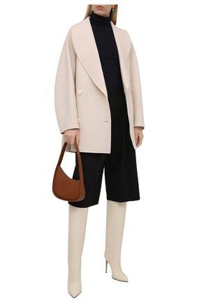 Женские кожаные сапоги stiletto PARIS TEXAS кремвого цвета, арт. PX133-XTJS5   Фото 2 (Каблук тип: Шпилька; Материал внутренний: Натуральная кожа; Высота голенища: Средние; Подошва: Плоская; Каблук высота: Высокий)