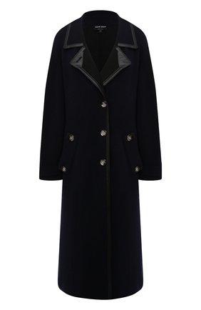 Женское пальто GIORGIO ARMANI темно-синего цвета, арт. 6KAL01/AM55Z | Фото 1 (Материал внешний: Синтетический материал; 1-2-бортные: Однобортные; Стили: Классический; Рукава: Длинные; Длина Ж (юбки, платья, шорты): Миди)