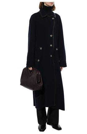 Женское пальто GIORGIO ARMANI темно-синего цвета, арт. 6KAL01/AM55Z | Фото 2 (Материал внешний: Синтетический материал; 1-2-бортные: Однобортные; Стили: Классический; Рукава: Длинные; Длина Ж (юбки, платья, шорты): Миди)