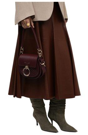 Женская сумка tess small CHLOÉ бордового цвета, арт. CHC21WS153F29   Фото 2 (Размер: small; Ремень/цепочка: На ремешке; Материал: Натуральная кожа; Сумки-технические: Сумки через плечо)