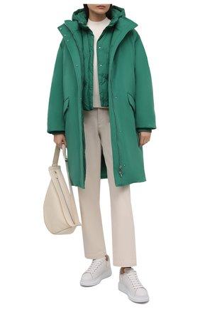 Женская пуховая парка LORO PIANA зеленого цвета, арт. FAL8879 | Фото 2 (Материал утеплителя: Пух и перо; Материал внешний: Кашемир, Шерсть; Материал подклада: Синтетический материал; Кросс-КТ: Куртка; Стили: Спорт-шик; Рукава: Длинные; Длина (верхняя одежда): До колена)