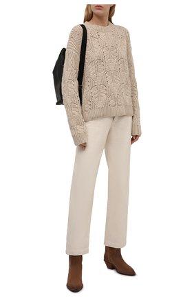 Женский кашемировый свитер LORO PIANA кремвого цвета, арт. FAL7061 | Фото 2 (Материал внешний: Шерсть, Кашемир; Рукава: Длинные; Длина (для топов): Стандартные; Женское Кросс-КТ: Свитер-одежда; Стили: Кэжуэл)
