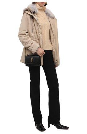Женская парка LORO PIANA светло-бежевого цвета, арт. FAL4383 | Фото 2 (Материал подклада: Синтетический материал; Материал внешний: Синтетический материал; Кросс-КТ: Куртка; Стили: Спорт-шик; Рукава: Длинные; Длина (верхняя одежда): Короткие)