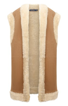 Женский меховой жилет POLO RALPH LAUREN кремвого цвета, арт. 211847153 | Фото 1 (Длина (верхняя одежда): До середины бедра; Материал внешний: Натуральный мех; Женское Кросс-КТ: Мех; Стили: Кэжуэл)