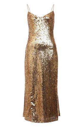 Женское платье с пайетками POLO RALPH LAUREN золотого цвета, арт. 211815358 | Фото 1 (Длина Ж (юбки, платья, шорты): Миди; Материал внешний: Синтетический материал; Материал подклада: Синтетический материал; Женское Кросс-КТ: Платье-одежда; Случай: Вечерний; Стили: Гламурный)