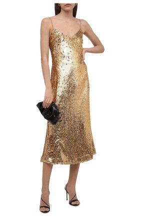 Женское платье с пайетками POLO RALPH LAUREN золотого цвета, арт. 211815358 | Фото 2 (Длина Ж (юбки, платья, шорты): Миди; Материал внешний: Синтетический материал; Материал подклада: Синтетический материал; Женское Кросс-КТ: Платье-одежда; Случай: Вечерний; Стили: Гламурный)