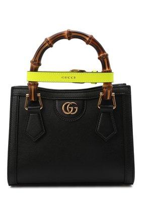 Женская сумка diana mini GUCCI черного цвета, арт. 655661/17QDT | Фото 1 (Размер: mini; Ремень/цепочка: На ремешке; Материал: Натуральная кожа; Сумки-технические: Сумки top-handle, Сумки через плечо)