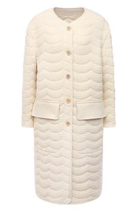 Женское двустороннее пальто CHLOÉ белого цвета, арт. CHC21WMA08067   Фото 1 (Материал подклада: Шелк; Длина (верхняя одежда): До колена; Материал внешний: Шерсть; Рукава: Длинные; 1-2-бортные: Однобортные; Стили: Кэжуэл)