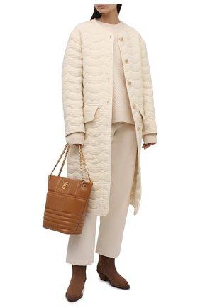 Женское двустороннее пальто CHLOÉ белого цвета, арт. CHC21WMA08067   Фото 2 (Материал подклада: Шелк; Длина (верхняя одежда): До колена; Материал внешний: Шерсть; Рукава: Длинные; 1-2-бортные: Однобортные; Стили: Кэжуэл)