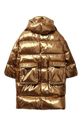 Детский пуховое пальто DOLCE & GABBANA золотого цвета, арт. L4JB3Q/FUSFX/8-14   Фото 1 (Материал внешний: Синтетический материал; Материал утеплителя: Пух и перо; Рукава: Длинные; Материал подклада: Синтетический материал)