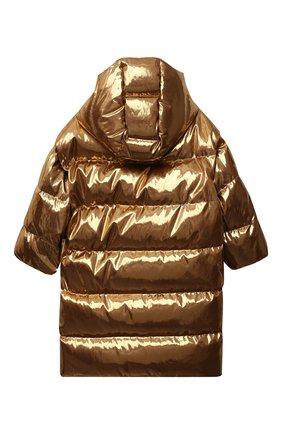 Детский пуховое пальто DOLCE & GABBANA золотого цвета, арт. L4JB3Q/FUSFX/8-14   Фото 2 (Материал внешний: Синтетический материал; Материал утеплителя: Пух и перо; Рукава: Длинные; Материал подклада: Синтетический материал)