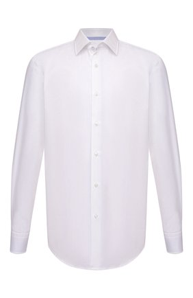 Мужская хлопковая сорочка BOSS белого цвета, арт. 50464549   Фото 1 (Рукава: Длинные; Материал внешний: Хлопок; Длина (для топов): Стандартные; Случай: Формальный; Принт: Однотонные; Рубашки М: Regular Fit; Манжеты: На пуговицах; Воротник: Кент; Стили: Классический)
