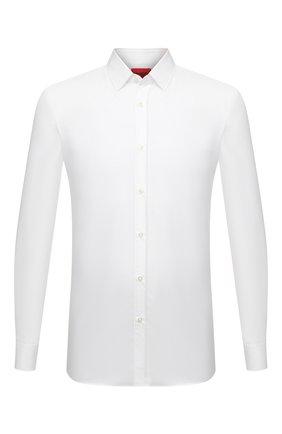 Мужская хлопковая сорочка BOSS белого цвета, арт. 50450147   Фото 1 (Материал внешний: Хлопок; Длина (для топов): Стандартные; Рукава: Длинные; Случай: Формальный; Принт: Однотонные; Рубашки М: Slim Fit; Манжеты: На пуговицах; Воротник: Кент; Стили: Классический)