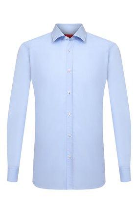 Мужская хлопковая сорочка BOSS голубого цвета, арт. 50450147   Фото 1 (Материал внешний: Хлопок; Длина (для топов): Стандартные; Рукава: Длинные; Случай: Формальный; Принт: Однотонные; Рубашки М: Slim Fit; Манжеты: На пуговицах; Воротник: Кент; Стили: Классический)