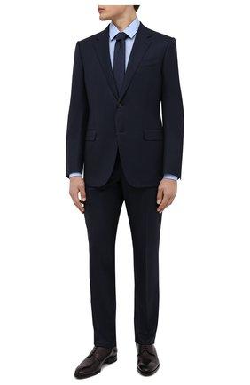 Мужская хлопковая сорочка BOSS голубого цвета, арт. 50450147   Фото 2 (Материал внешний: Хлопок; Длина (для топов): Стандартные; Рукава: Длинные; Случай: Формальный; Принт: Однотонные; Рубашки М: Slim Fit; Манжеты: На пуговицах; Воротник: Кент; Стили: Классический)