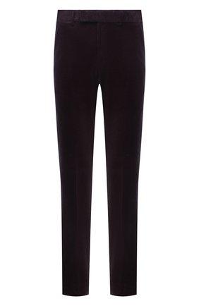 Мужские брюки из хлопка и кашемира ERMENEGILDO ZEGNA темно-фиолетового цвета, арт. 865F01/77TB12   Фото 1 (Материал внешний: Хлопок; Длина (брюки, джинсы): Стандартные; Случай: Повседневный; Стили: Кэжуэл)