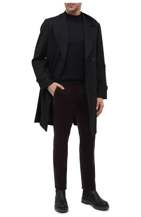 Мужские брюки из хлопка и кашемира ERMENEGILDO ZEGNA темно-фиолетового цвета, арт. 865F01/77TB12   Фото 2 (Материал внешний: Хлопок; Длина (брюки, джинсы): Стандартные; Случай: Повседневный; Стили: Кэжуэл)