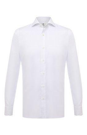Мужская хлопковая сорочка LUIGI BORRELLI белого цвета, арт. SR4120/ACHILLE/ST/EV/PC   Фото 1 (Материал внешний: Хлопок; Рукава: Длинные; Длина (для топов): Стандартные; Случай: Формальный; Принт: Однотонные; Рубашки М: Super Slim Fit; Манжеты: На пуговицах; Воротник: Акула; Стили: Классический)