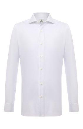 Мужская хлопковая сорочка LUIGI BORRELLI белого цвета, арт. SR4120/ACHILLE/ST/EV1/PC   Фото 1 (Материал внешний: Хлопок; Рукава: Длинные; Длина (для топов): Стандартные; Случай: Формальный; Принт: Однотонные; Рубашки М: Super Slim Fit; Манжеты: На пуговицах; Воротник: Акула; Стили: Классический)