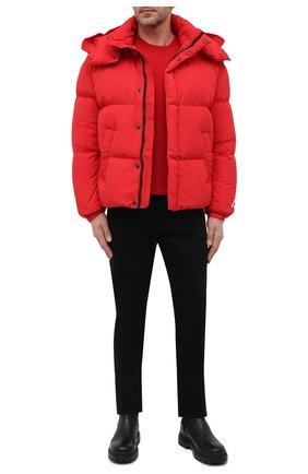 Мужская пуховая куртка DIESEL красного цвета, арт. A03143/0AEAI   Фото 2 (Материал утеплителя: Пух и перо; Материал подклада: Синтетический материал; Длина (верхняя одежда): Короткие; Материал внешний: Синтетический материал; Рукава: Длинные; Кросс-КТ: Куртка; Мужское Кросс-КТ: пуховик-короткий; Стили: Гранж)