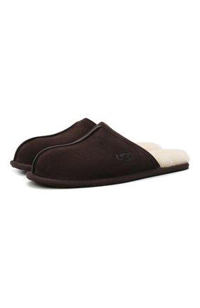Мужского домашние туфли scuff UGG темно-коричневого цвета, арт. 1101111_ESP | Фото 1 (Материал внутренний: Натуральная кожа, Текстиль; Мужское Кросс-КТ: тапочки-обувь)