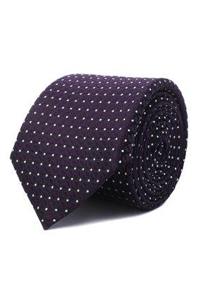 Мужской шелковый галстук BOSS фиолетового цвета, арт. 50466676   Фото 1 (Материал: Текстиль, Шелк; Принт: С принтом)