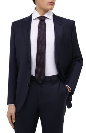 Мужской шелковый галстук BOSS фиолетового цвета, арт. 50466676   Фото 2 (Материал: Текстиль, Шелк; Принт: С принтом)