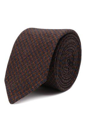 Мужской галстук из хлопка и шерсти BOSS коричневого цвета, арт. 50467116 | Фото 1 (Материал: Текстиль, Хлопок, Шерсть; Принт: С принтом)