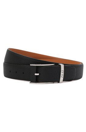 Мужской кожаный ремень ZILLI черного цвета, арт. MJL-CLAQE-01805/0076/120-130   Фото 1 (Случай: Формальный)