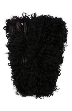 Мужские перчатки BOTTEGA VENETA черного цвета, арт. 652238/V12Q1 | Фото 1 (Материал: Натуральный мех; Мужское Кросс-КТ: Кожа и замша)