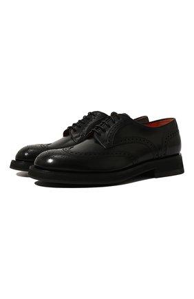 Мужские кожаные дерби SANTONI черного цвета, арт. MCCG17872JW2IPWEN01 | Фото 1 (Материал внутренний: Натуральная кожа; Стили: Классический; Мужское Кросс-КТ: Броги-обувь)