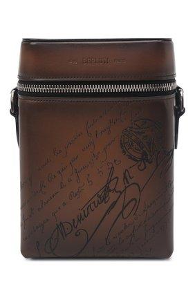 Мужская кожаная сумка-мессенджер BERLUTI темно-коричневого цвета, арт. M230794 | Фото 1 (Ремень/цепочка: На ремешке; Материал: Натуральная кожа)